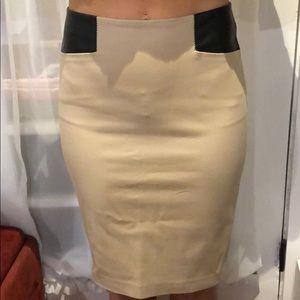 NWT Club Monaco Tan and Black Leather Pencil Skirt